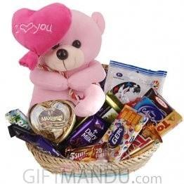 #bff Cute Love Teddy Grabbing Chocolates Basket (Teddy + 14 Chocolates)