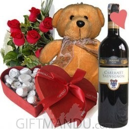 Lovely Brown Teddy Bear, Gourmet Chocolates Heart Box, Roses and Red Wine