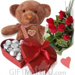 Cute Dark Brown Teddy Bear, Assorted Gourmet Chocolates Box and Fresh Roses