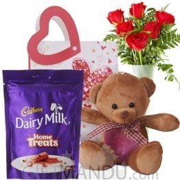Cadbury Home Treats, Cute Brown Teddy and Roses In Beautiful Bag