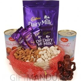 Dry Nuts Basket with Ganesh Statue, Sweets and Home Treats Chocolate