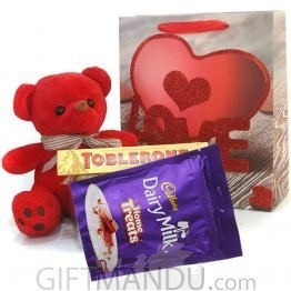 For My Love - Red Teddy With Chocolates in Love Bag