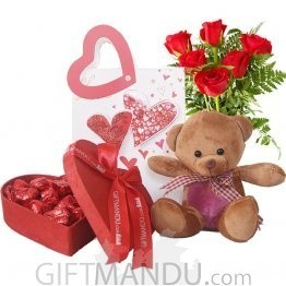 Red Heart Chocolate Box, Cute Brown Teddy and Roses in a Beautiful Bag