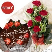 Your Choice of Five Star Cake and Half Dozen Red Roses