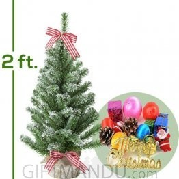Artificial Christmas Tree Snow With Decorations (2 Ft Tall)