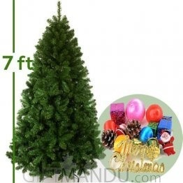 Christmas Tree - Artificial Pine 7Feet Tall with Decoration (Large)