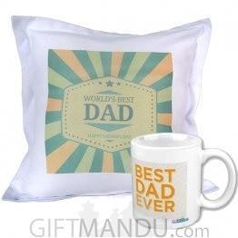 World's Best Dad Printed Cushion and Coffee Mug