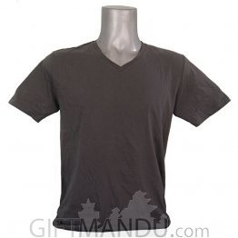 Dark Gray Casual Cotton Tshirt (V-Neck)