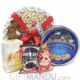 Nuts Tray, Cookies, Tea Packs and Chocolates (5 Items)