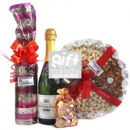 Sparkling French Wine, Sweet Red Wine, Dry Nuts with Gourmet Chocolates