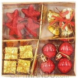 Christmas Tree Decoration Ornaments Set (Bells, Bells, Stars, Gift Boxes)