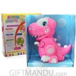 Dinosaur Toy - Flash, Music, Rotating Wheels - Pink