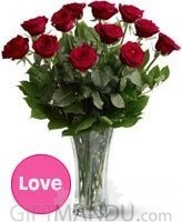 One Dozen Fresh Red Roses in Elegant Vase for Pokhara