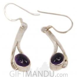 Silver Earring - Emerald Stone