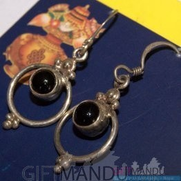 Silver Earring - Black Dots