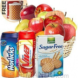 Fruit Basket, Biscuits, Horlicks and Viva with Free Ceramic Mug