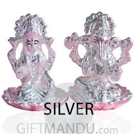 Silver Ganesh Ji and Laxmi Ji on Lotus Flower Statue Set in Gift Box