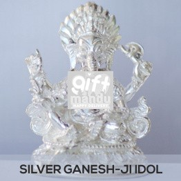 Silver Idol of Lord Ganesh Ji (Gift)