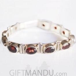 Silver Bracelet - Garnet Stone