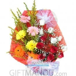 Mix Roses Gerbera Daisy Bright Basket
