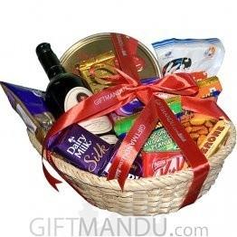 Wine Cookies Chocolates Basket (19 Chocolates, 1 Cookies Box + Wine)