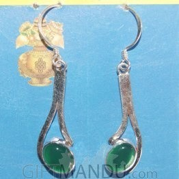 Silver Earring - Green Emerald Stone