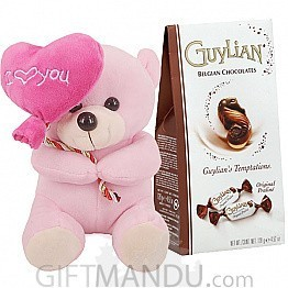 Guylian's Temptations Gift Pack and Pink Teddy with Heart
