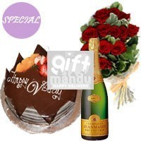 Five Star Cake, Sparkling Wine and Dozen Long Stem Dutch Roses