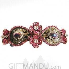 Pink Stone Flower design Hair Clip