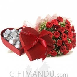 Red Heart Chocolate Box With 30 Red Roses Bunch - HID