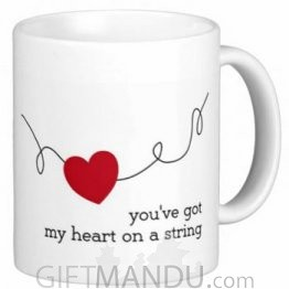 Valentine Love Mug With Personalized Message Print (Heart On String)