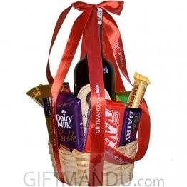 Wine Chocolates and Snacks Basket (10 Items)