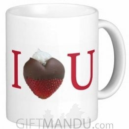 Valentine Love Mug With Personalized Message Print (I Heart U Strawberry)