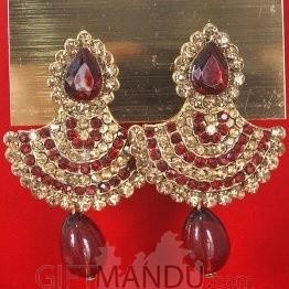 Fashion Stone Earrings - Diyo Shape With Red Stone