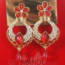 Fashion Stone Earrings - Red Jhumka