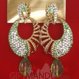 Fashion Stone Earrings - Light Green Jhumka