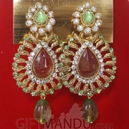 Fashion Stone Earrings (Light Green Jhumka)