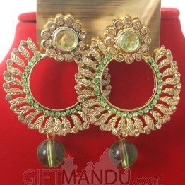 Fashion Stone Earrings - Round Shape Light Green Jhumka