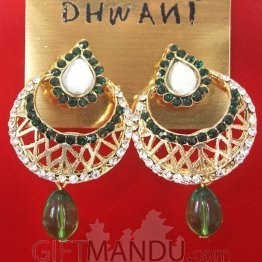Fashion Stone Earrings - Moon Shape (Green)