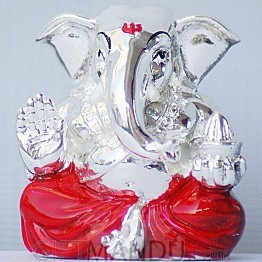 Silver Wax Idol of Lord Ganesh Ji (Red)