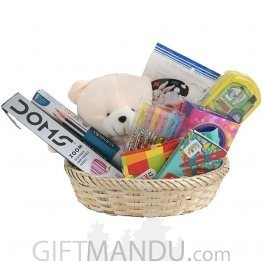 Kids Basket - Pencils, Colors, Teddy, Chocolates and More (9 Items)