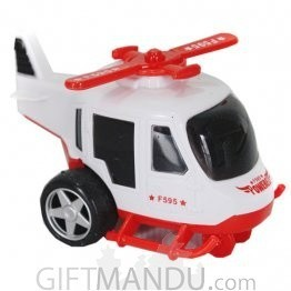 Powerful Friction Helicopter Pull and Go Toy (White)