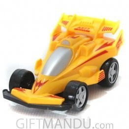 Powerful Friction Racing Car Pull and Go Toy (Yellow)
