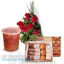 Sweets Assortment and Flower Bunch (Lal Mohan)