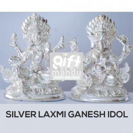 Silver Idol of Lord Ganesh Ji and Goddess Laxmi