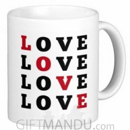 Valentine Love Mug With Personalized Message Print (Love Red Black)