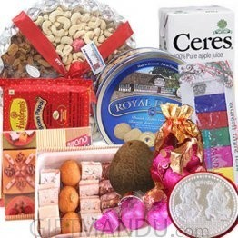 Silver Coin 10g, Dry Nuts Tray, Mithai, Cookies, Juice, Chocolates, Soan Papdi, Tihar Tika (9 Items)