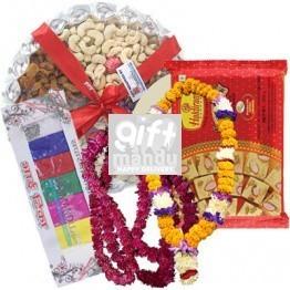 Dry Nuts Tray, Soan Papdi, Tihar Mala Set and Tika