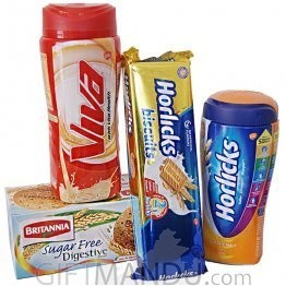 Horlicks and Viva Package with Biscuits (4 Items)