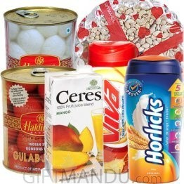 Lalmohan, Rasbari, Dry Nuts Tray, Fruit Juice, Viva and Horlicks